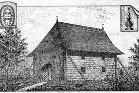 1_Dřevěný kostel v Huslenkách, kresba Dušana Jurkoviče z Časopisu Vlasteneckého spolku muzejního v Olomouci, 1892 / The Wooden Church in Huslenky, drawing by Dušan Jurkovič from the magazine of the Patriotic Museum Association in Olomouc, 1892