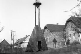 1_Vrbětice, umístění zvonice v obci, 1962 / Vrbětice, the setting of the bell tower in the village, 1962
