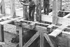 8_ Stavba vodního náhonu k hamru, 1988 / Building the millrace for the tilt-hammer, 1988