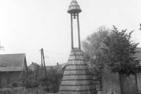 2_Vrbětice, zvonice in situ, 1967 / Vrbětice, the bell tower in situ, 1967